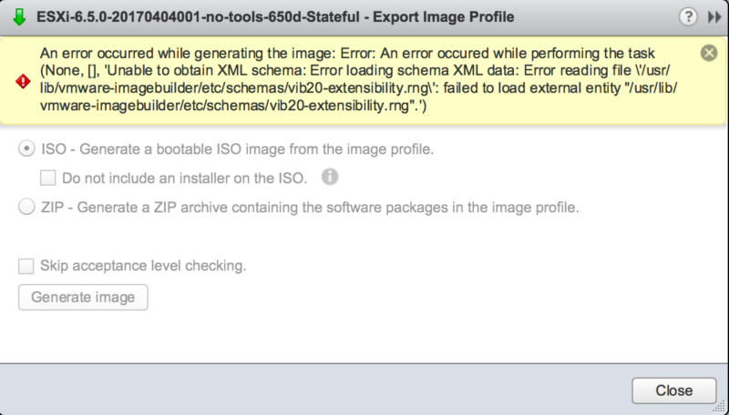 VCSA 6 5 Image Builder - Error loading schema XML data